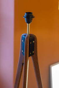 Sapele Tripod Floor Lamp - P64 - Purple Lokta