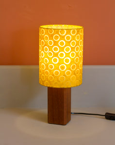 Square Sapele Table Lamp with 15x20cm Drum Lamp Shade P71