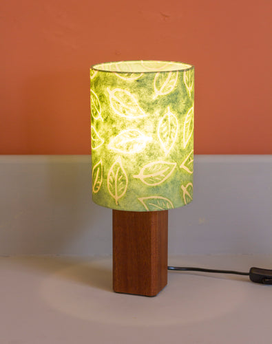 Square Sapele Table Lamp with 15x20cm Drum Lamp Shade P29