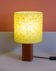 Square Sapele Table Lamp with 20x20cm Drum Lamp Shade P02