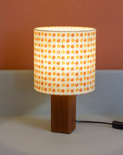 Square Sapele Table Lamp with 20x20cm Drum Lamp Shade B101