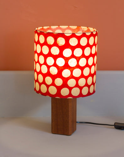 Square Sapele Table Lamp with 20x20cm Drum Lamp Shade P84