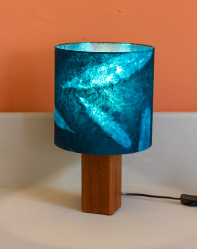 Square Sapele Table Lamp with 20x20cm Drum Lamp Shade P99