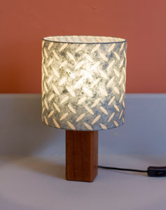 Square Sapele Table Lamp with 20x20cm Drum Lamp Shade P88