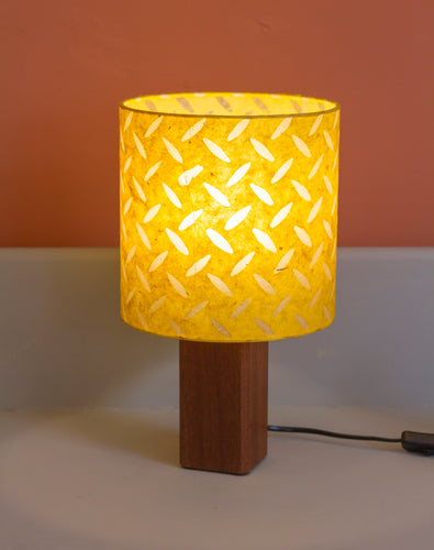 Square Sapele Table Lamp with 20x20cm Drum Lamp Shade P89