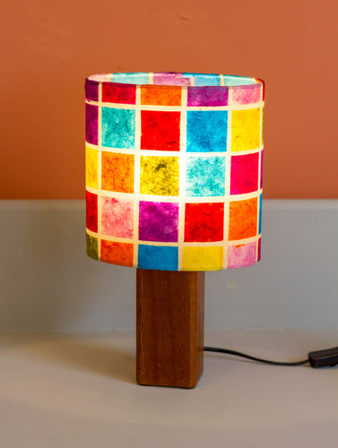 Square Sapele Table Lamp with 20x20cm Oval Lamp Shade P01