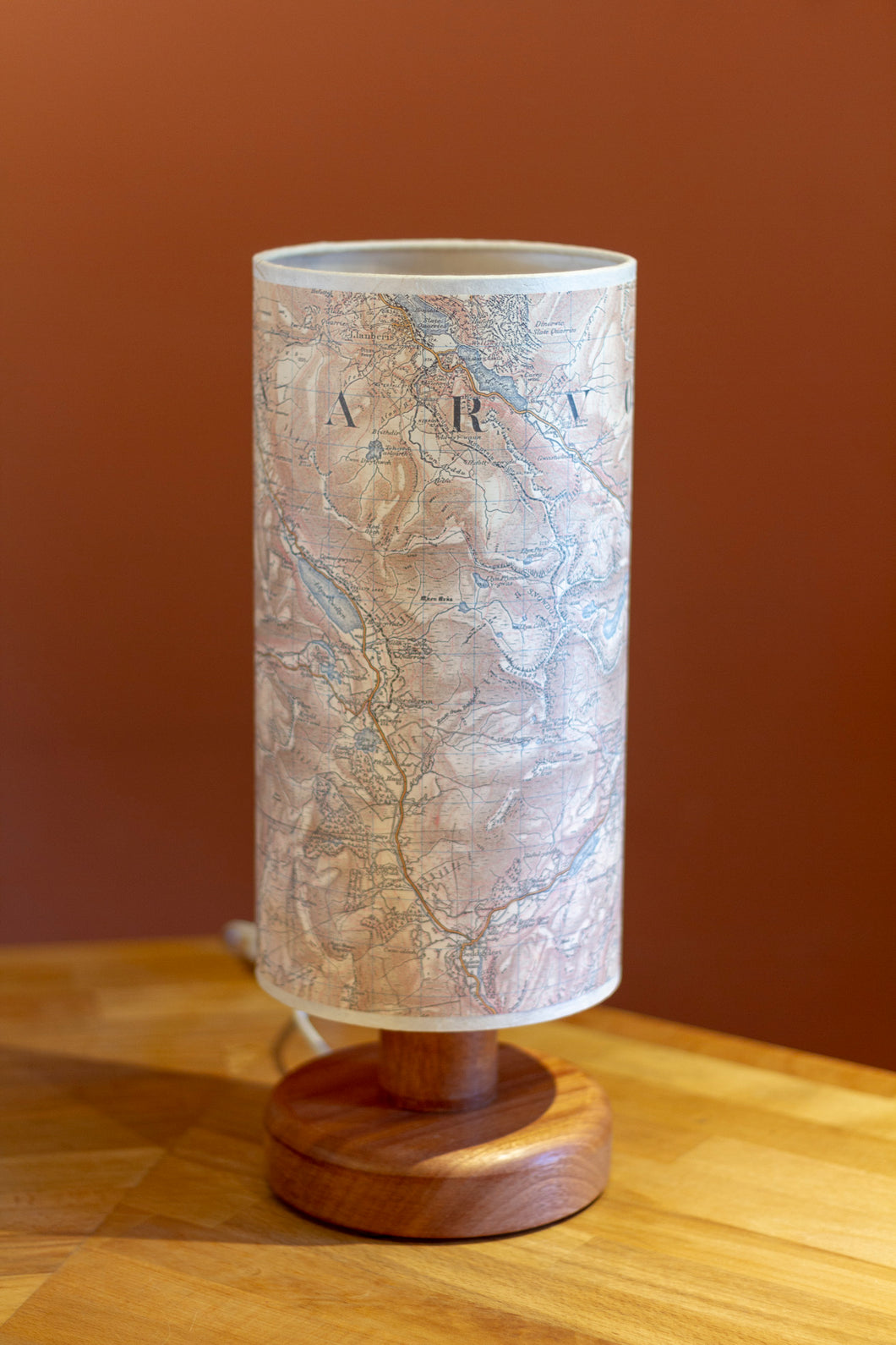 Sapele Table Lamp with Snowdonia 1903 Cassini Map Lamp Shade