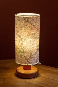 Sapele Table Lamp with Snowdonia 1922 Cassini Map Lamp Shade