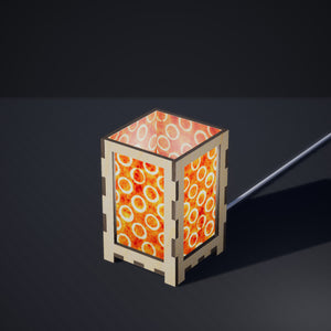 Laser Cut Plywood Table Lamp - Small - P03 - Batik Orange Circles