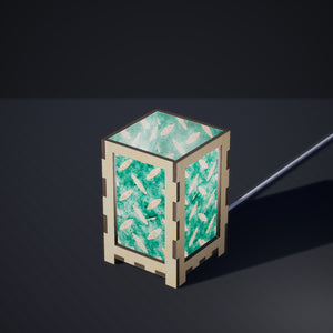 Laser Cut Plywood Table Lamp - Small - P15 ~ Batik Tread Plate Mint Green