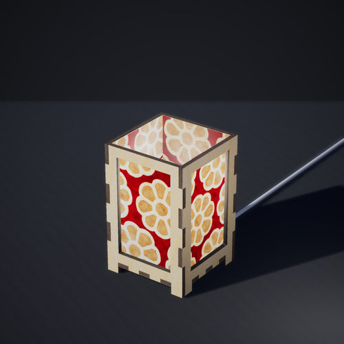 Laser Cut Plywood Table Lamp - Small - P18 ~ Batik Big Flower on Red