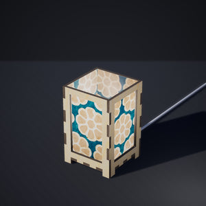 Laser Cut Plywood Table Lamp - Small - P23 ~ Batik Big Flower on Teal