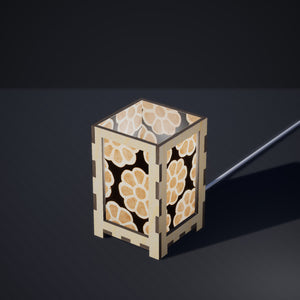 Laser Cut Plywood Table Lamp - Small - P24 ~ Batik Big Flower on Black