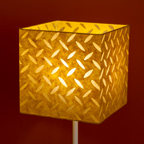 Square Lamp Shade - P89 ~ Batik Tread Plate Yellow, 20cm(w) x 20cm(h) x 20cm(d)