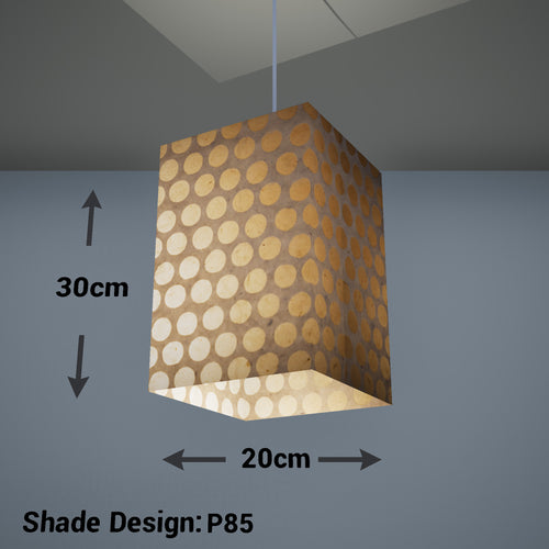 Square Lamp Shade - P85 ~ Batik Dots on Natural, 20cm(w) x 30cm(h) x 20cm(d)