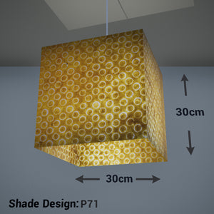 Square Lamp Shade - P71 - Batik Yellow Circles, 30cm(w) x 30cm(h) x 30cm(d) - Imbue Lighting