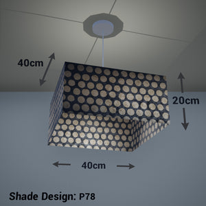 Square Lamp Shade - P78 - Batik Dots on Grey, 40cm(w) x 20cm(h) x 40cm(d) - Imbue Lighting