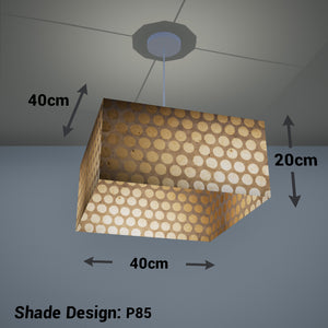 Square Lamp Shade - P85 ~ Batik Dots on Natural, 40cm(w) x 20cm(h) x 40cm(d)