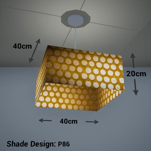 Square Lamp Shade - P86 ~ Batik Dots on Yellow, 40cm(w) x 20cm(h) x 40cm(d)