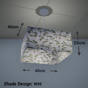 Square Lamp Shade - W05 ~ Cranes, 40cm(w) x 20cm(h) x 40cm(d) - Imbue Lighting