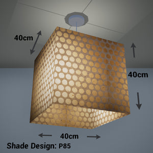Square Lamp Shade - P85 ~ Batik Dots on Natural, 40cm(w) x 40cm(h) x 40cm(d)