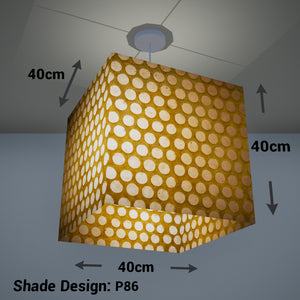 Square Lamp Shade - P86 ~ Batik Dots on Yellow, 40cm(w) x 40cm(h) x 40cm(d)