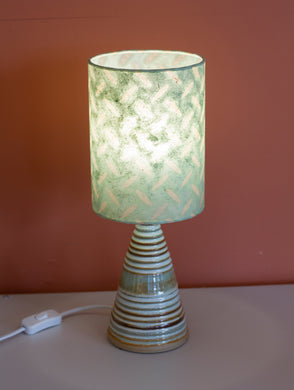 Stoneware Table Lamp Base - 15x20cm Drum Lampshade - P93 Tread Plate Seafoam