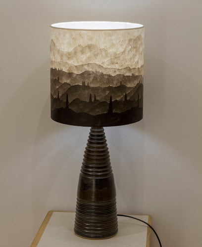 Original Ink Sketch Lamp Shade on a Large Stoneware Table Lamp