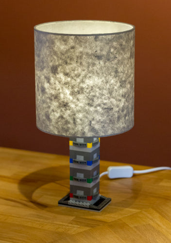 Lego® Grey Tower Table Lamp - Drum Lamp Shade