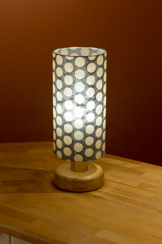 Round Oak Table Lamp with 15cm x 30cm Lamp Shade in Batik Grey Dots P78