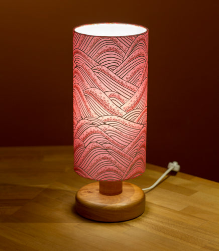 Round Sapele Table Lamp with 15cm x 30cm Lamp Shade in Pink Hills Washi - W04