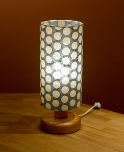 Round Sapele Table Lamp with 15cm x 30cm Lamp Shade in Batik Grey Dots P78