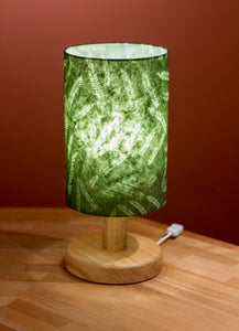 Round Oak Table Lamp (20cm) with 20cm x 30cm Lamp Shade in Green Ferns P27