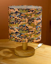 Round Oak Table Lamp (20cm) with Oval Lamp Shade in Kyoto Washi Paper W06