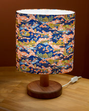 Round Sapele Table Lamp (20cm) with Oval Lamp Shade in Kyoto Washi Paper W06