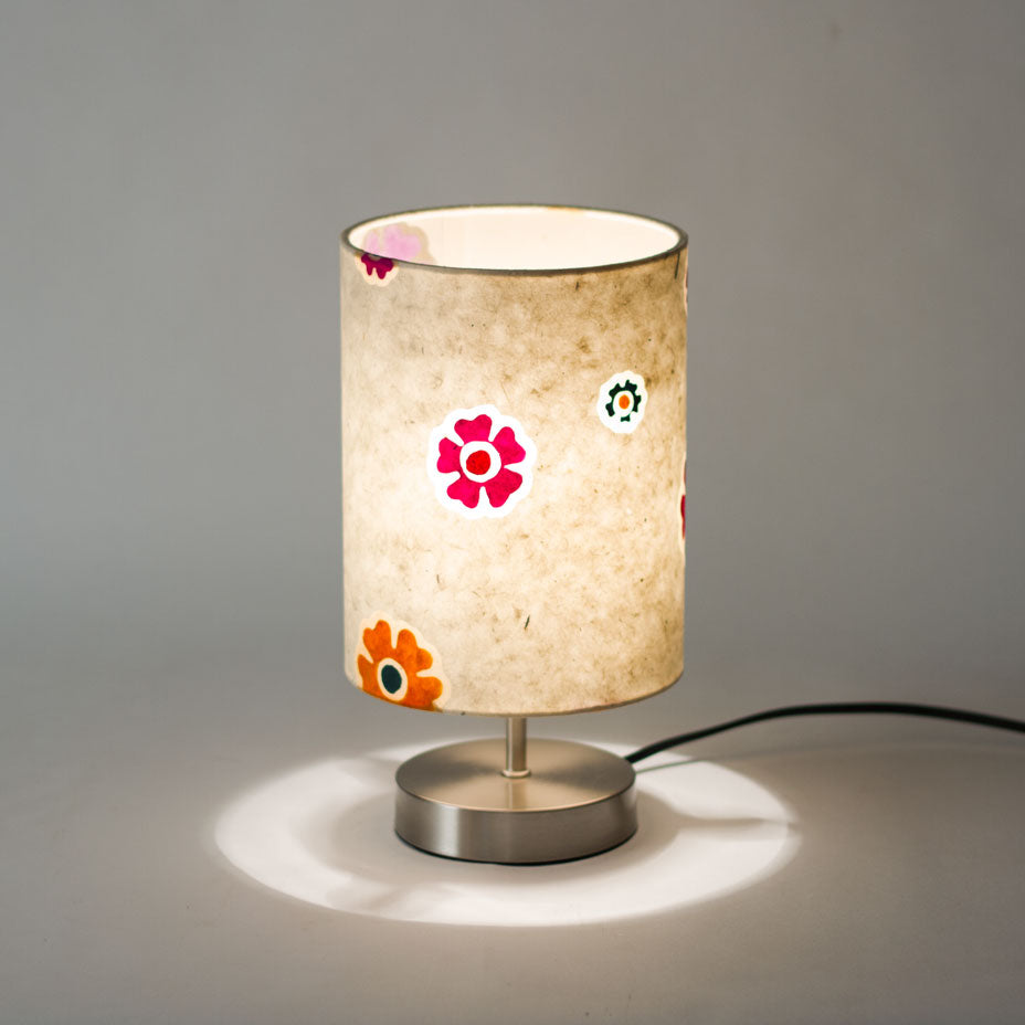 Round Touch activated Table Lamp Base with 15cm x 20cm Drum Lamp Shade P35
