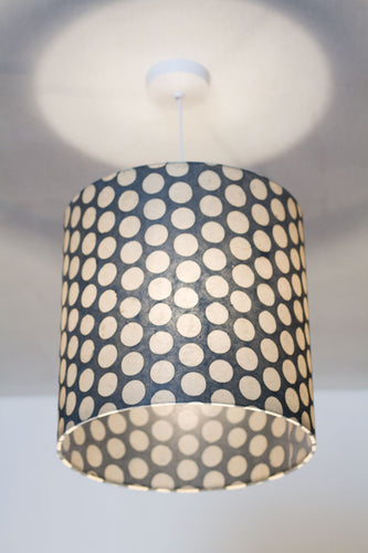Drum Lamp Shade - P78 - Batik Dots on Grey, 30cm(d) x 30cm(h) - Imbue Lighting
