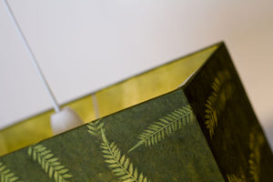 Rectangle Lamp Shade - P27 - Resistance Dyed Green Fern, 30cm(w) x 30cm(h) x 15cm(d)