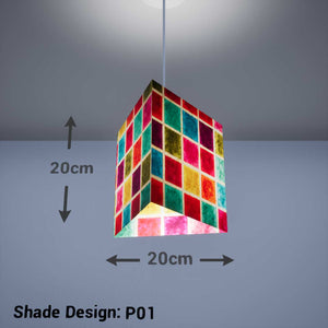 Triangle Lamp Shade - P01 - Batik Multi Square, 20cm(w) x 20cm(h) - Imbue Lighting