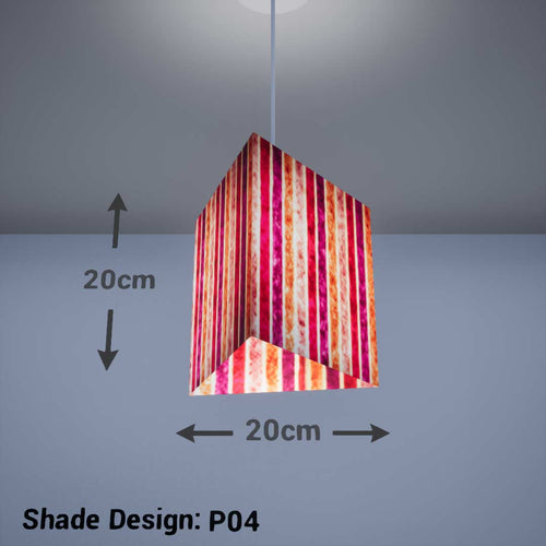 Triangle Lamp Shade - P04 - Batik Stripes Pink, 20cm(w) x 20cm(h) - Imbue Lighting