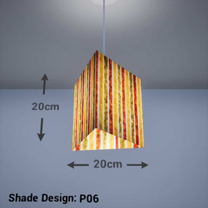 Triangle Lamp Shade - P06 - Batik Stripes Autumn, 20cm(w) x 20cm(h) - Imbue Lighting