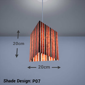 Triangle Lamp Shade - P07 - Batik Stripes Brown, 20cm(w) x 20cm(h) - Imbue Lighting