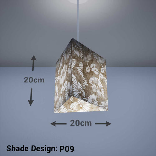 Triangle Lamp Shade - P09 - Batik Peony on Natural, 20cm(w) x 20cm(h) - Imbue Lighting
