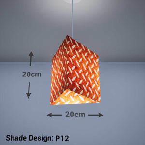 Triangle Lamp Shade - P12 - Batik Tread Plate Brown, 20cm(w) x 20cm(h) - Imbue Lighting