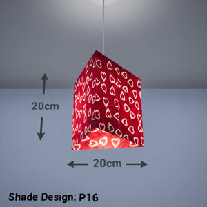 Triangle Lamp Shade - P16 - Batik Hearts on Cranberry, 20cm(w) x 20cm(h) - Imbue Lighting