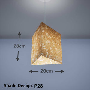 Triangle Lamp Shade - P28 - Batik Leaf on Natural, 20cm(w) x 20cm(h) - Imbue Lighting