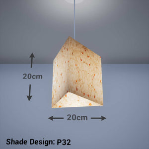 Triangle Lamp Shade - P32 - Marigold Petals on Natural Lokta, 20cm(w) x 20cm(h) - Imbue Lighting