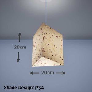 Triangle Lamp Shade - P34 - Cornflower Petals on Natural Lokta, 20cm(w) x 20cm(h) - Imbue Lighting