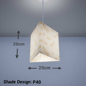 Triangle Lamp Shade - P40 - Gold Fish Screen Print on Natural Lokta, 20cm(w) x 20cm(h) - Imbue Lighting