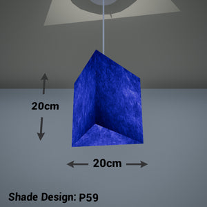 Triangle Lamp Shade - P59 - Navy Blue Lokta, 20cm(w) x 20cm(h)